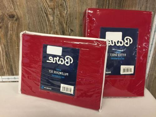 king fitted sheets and pillowcases red