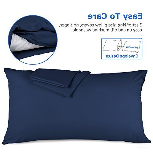 Adoric Life Cases King Microfiber Hypoallergenic Ultra Soft Resistant Pillow Protector End,