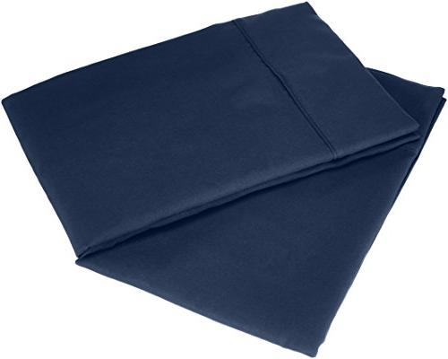 AmazonBasics Microfiber Pillowcases 2-Pack, King, Navy