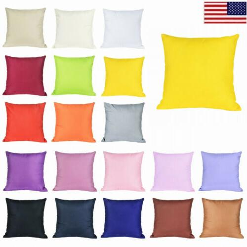 NEW Cotton Cushion Cover Square Solid Pillow Case Home Sofa