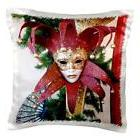 3dRose pc_37256_1 Red and Gold Vintage Mardi Gras Mask-Pillo