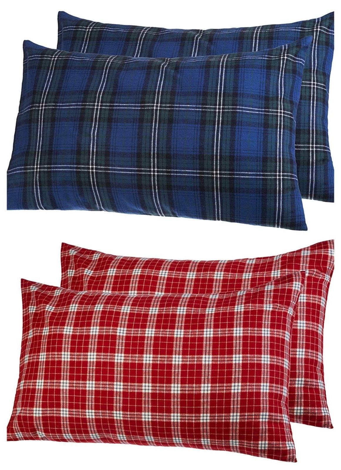 Pillow Case Cover Set Pillowcases Plaid Flannel King Size Pi