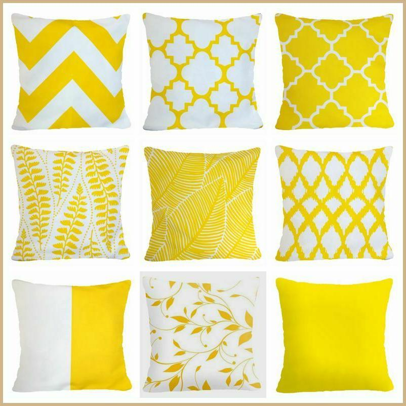 pillow cover yellow white gray soft home