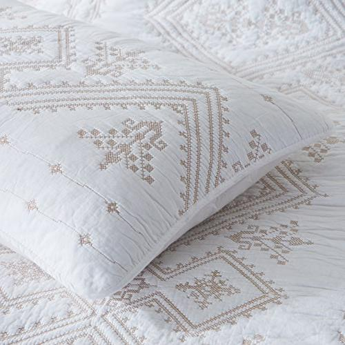2 Pack - Standard , Shams Cover Embroidery Florentine Cotton HypoAllergenic