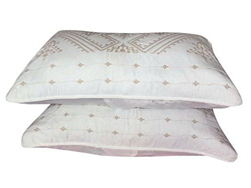 2 Pack Standard Size Pillow Shams White Cotton Embroidery Florentine HypoAllergenic