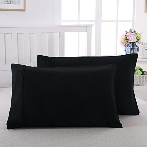 Pillowcases Envelope End Super Soft and Breathable Black/20''x30''