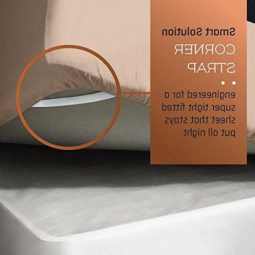 Empyrean Premium Size Taupe Sand 4-Piece Extra Deep Pocket Special Fit Fitted Sheet, Linen Durable Design + Guide