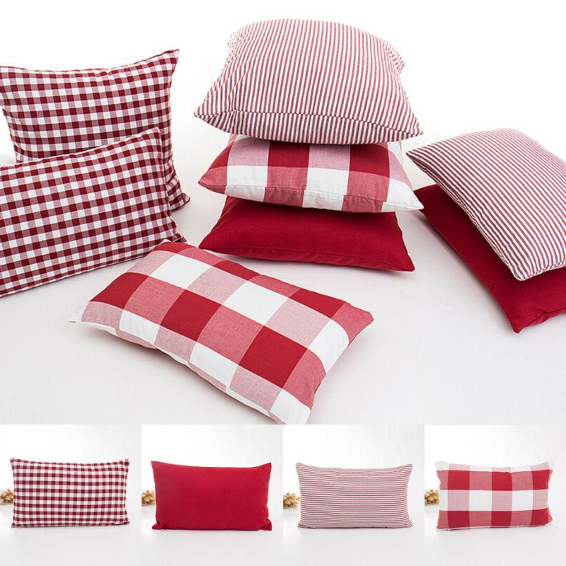 Red Checked Palid Stripe Cushion Cover Throw Pillow Case Sof
