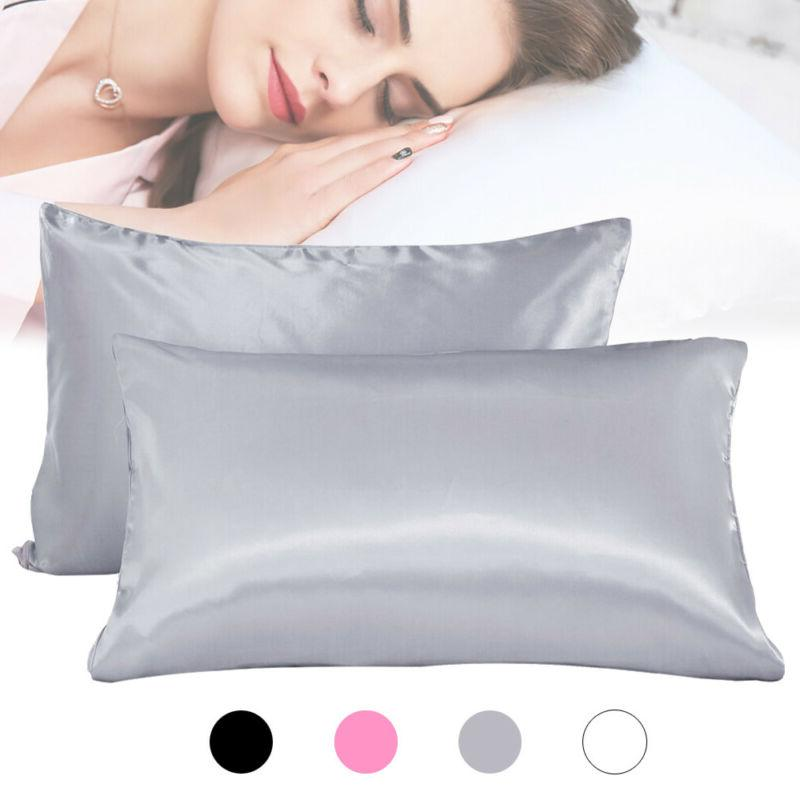 set of 2 silk pillowcase bed pillow