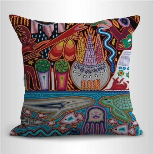 set of 4 art indigenous Mexican cushion covers case