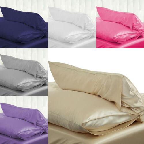 Silk Cover Pillowcase Size Solid Color USA