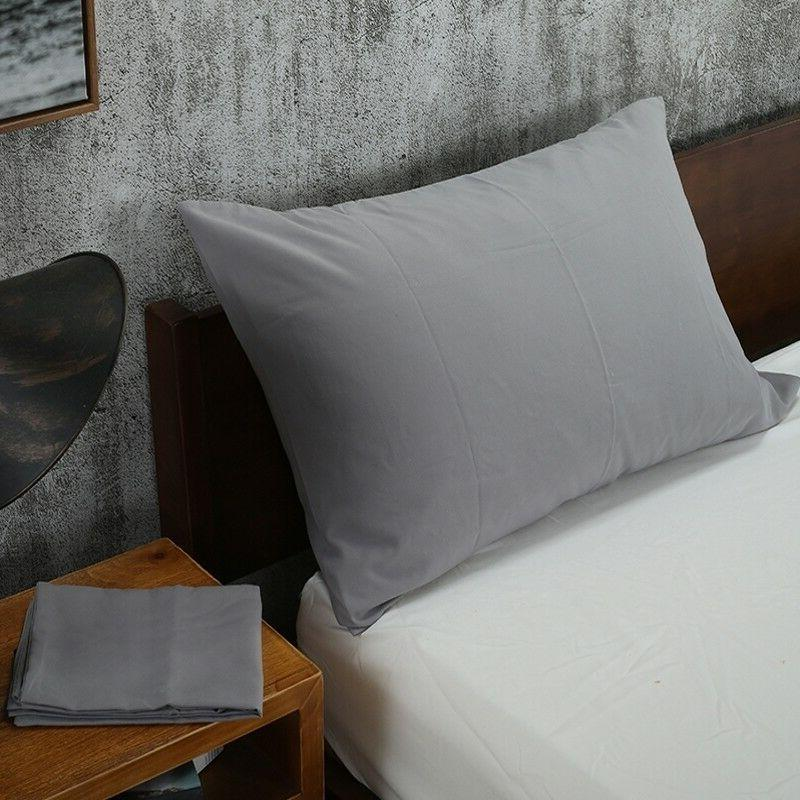 Solid Color Pillowcases Bedding Case Cover Queen