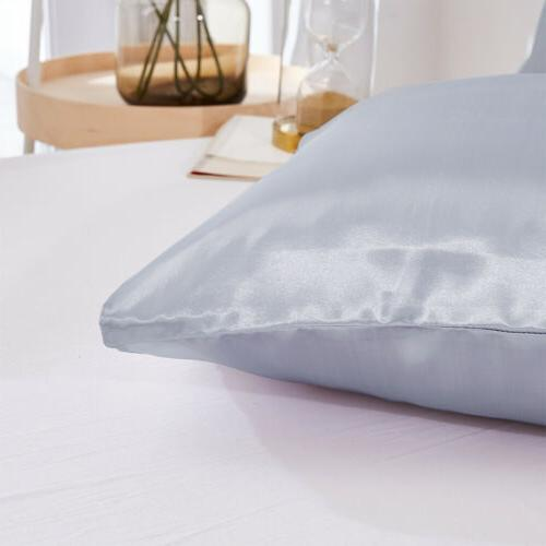 Solid Standard Satin Silk Pillow Case Home
