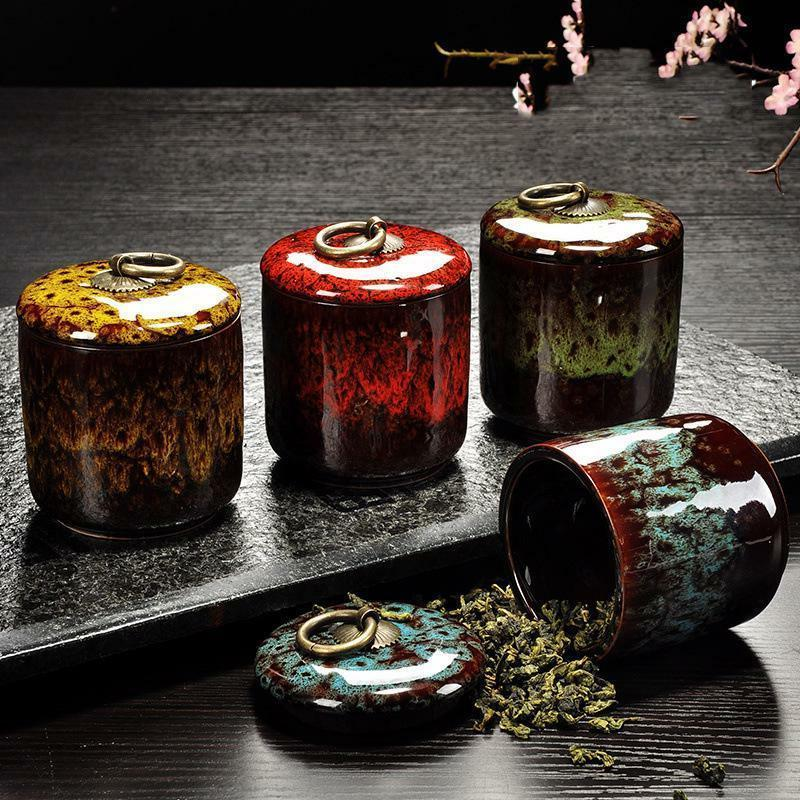 spice jar box ceramic tea storage canister