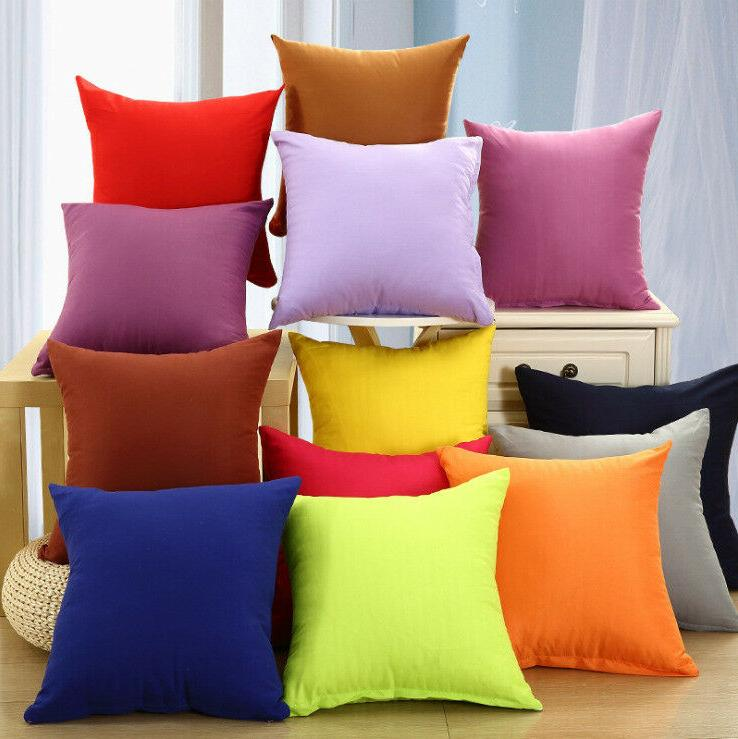 Candy Colors Cotton Throw Pillow Case Home Sofa Cushion Déc