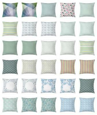 Teal and White Throw Pillow Cases Cushion Covers Home Decor