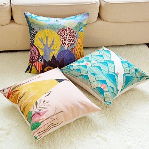 sykting Decorative Throw Covers 18 Square Pillow Cases of 5 Spring Linen