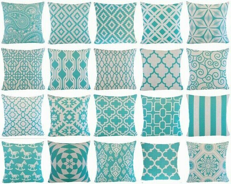 turquoise blue throw pillow cover sofa couch