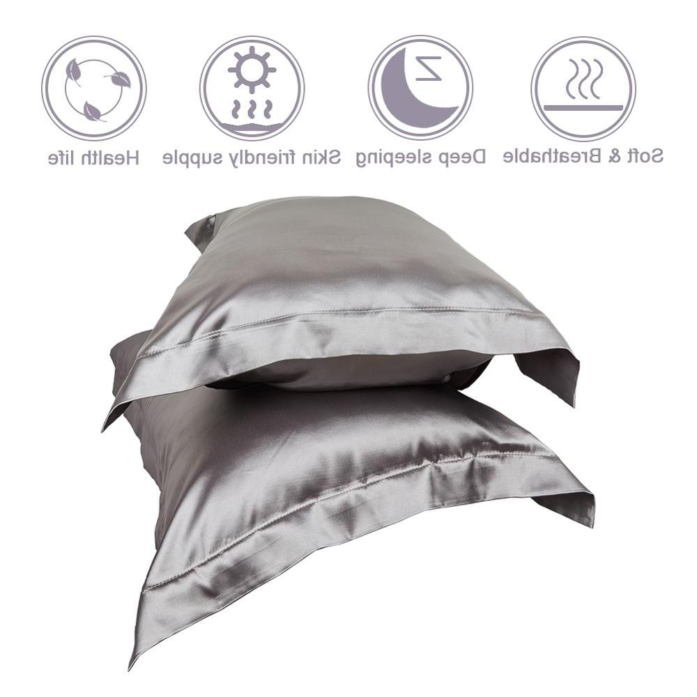 Two-Pack Silky Pillowcases for Hair Standard/<font><b>Queen</b></font>/King <font><b>Size</b></font> with Closure Pcs/set