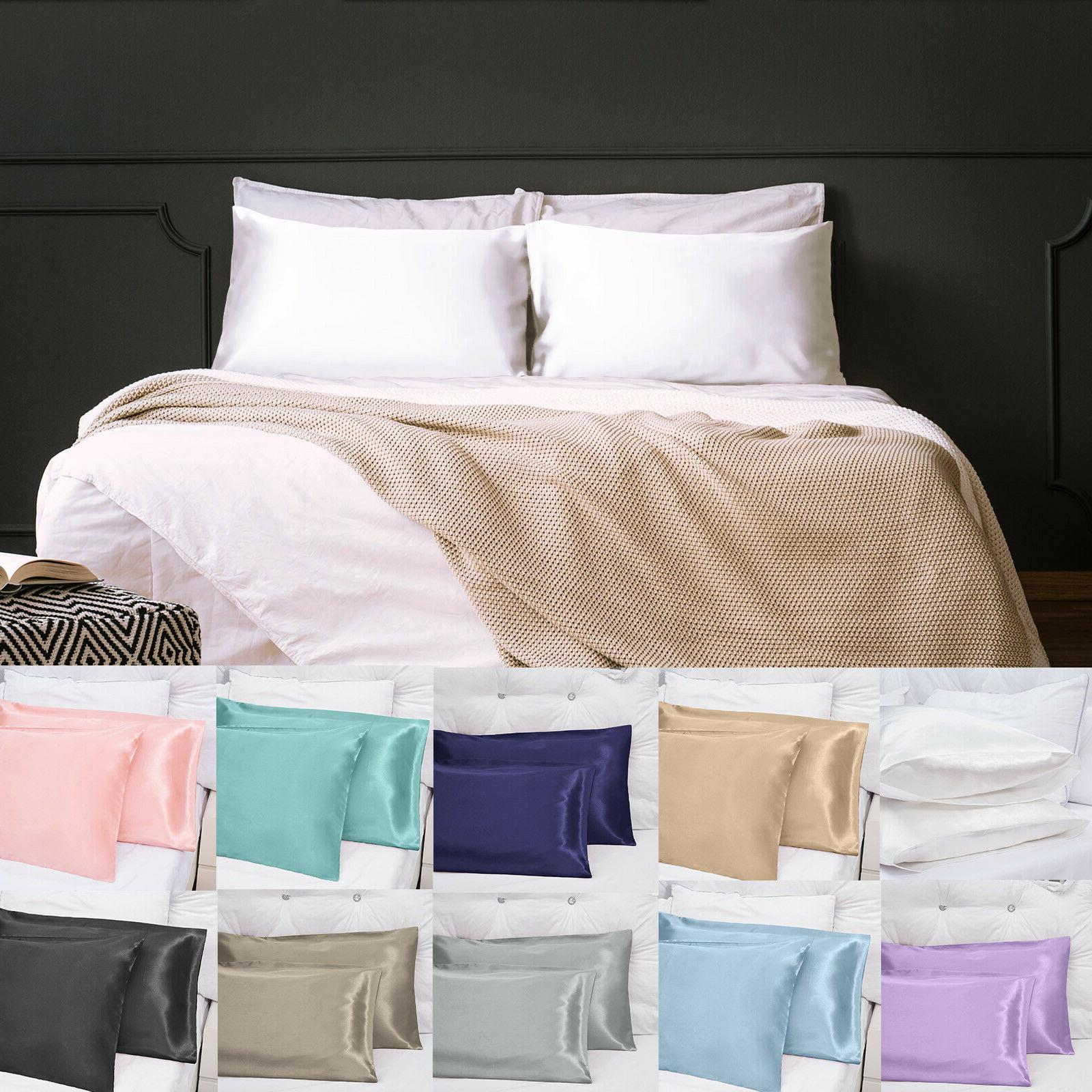 us sell 2pcs solid silk pillow case