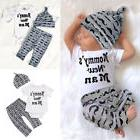 USA 3Pcs Newborn Baby Boy Romper Tops +Long Pants Hat Outfit