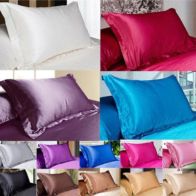 NEW Solid Queen/Standard Silk~y Satin Pillow Case Bedding Pi