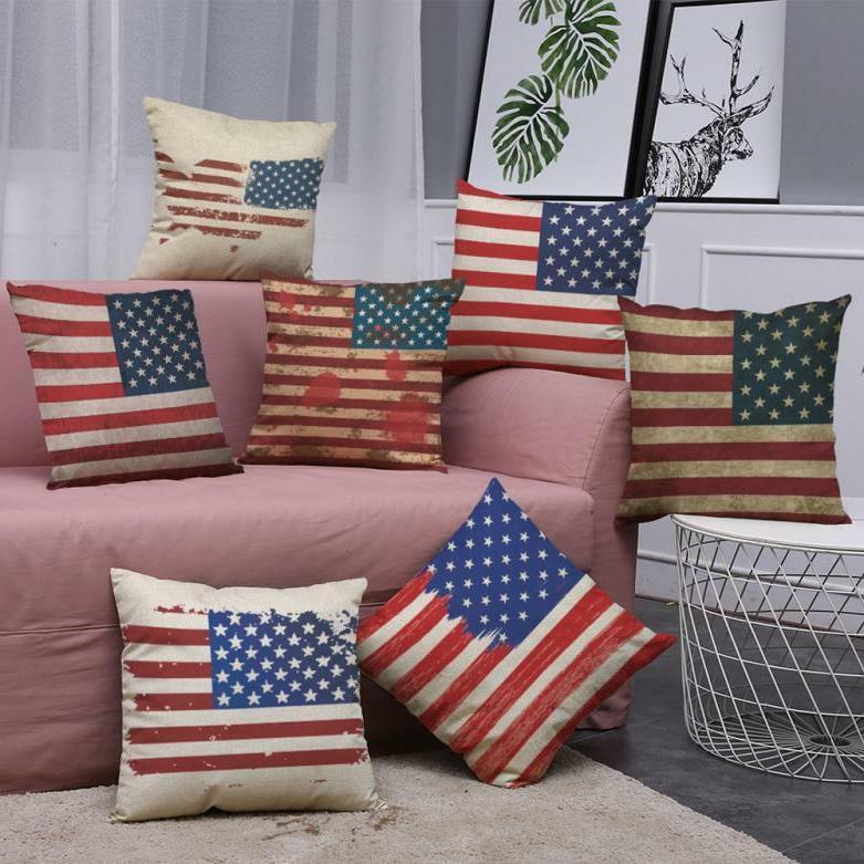 0Vintage American Flag Pillow Cases Cotton Linen Sofa Cushio