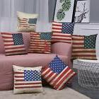 Vintage American Flag Pillow Cases Cotton Linen Sofa Cushion