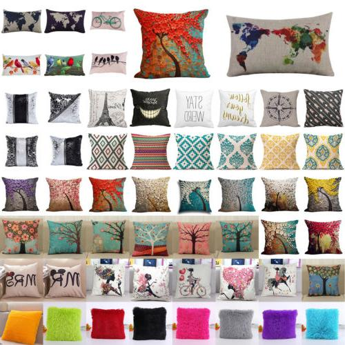 Floral Cotton Linen Throw Waist Pillow Case Cushion Cover Fl