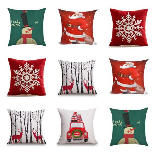 Xmas Santa Pattern Pillow Case Square / Standard Size Colorf