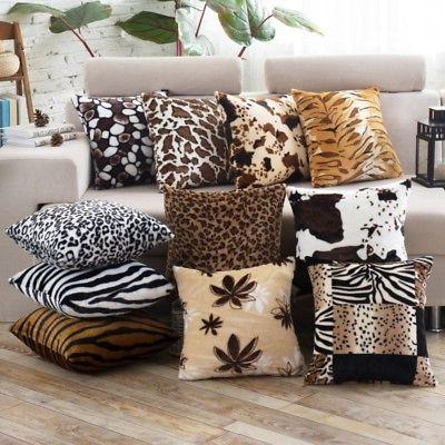 Zebra Animal Leopard Print Pillow Case Sofa Waist Throw Cush