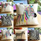 Zebra Animal Print Cotton Linen Pillow Case Sofa Throw Cushi