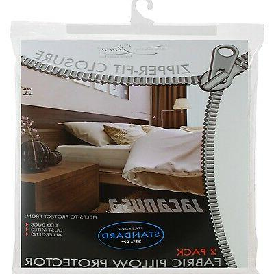 Zippered Fabric Pillow Cover Allergy Bed Bug Protector Water