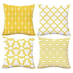 Lemon Yellow Throw Pillow Case Arrow Quatrefoil Accent Trell