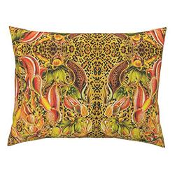 Roostery Leopard Print Euro Knife Edge Pillow Sham Florals A