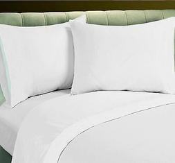 1 NEW WHITE QUEEN XL SIZE FLAT SHEET WITH 2 FREE PILLOWCASES