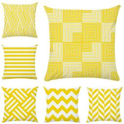 linen cotton cushion cover yellow pillow cases