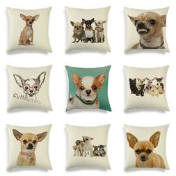 Linen Home Decorative Pillow Case Cushion Cover Animal Chihu