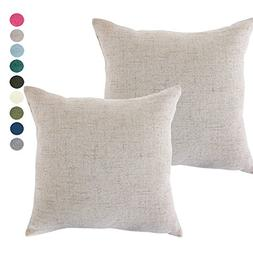 CHANODUG Linen Pillow Covers 18 x 18 Inch Sets of 2 French g