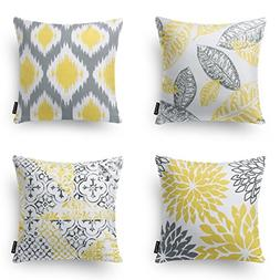 Phantoscope Set of 4 New Living Series Yellow and Grey Decor