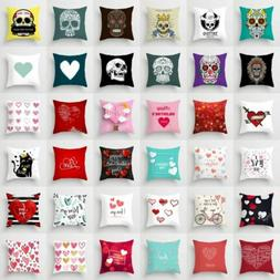 Love Letters Skull Pattern Polyester Cushion Cover Throw Pil