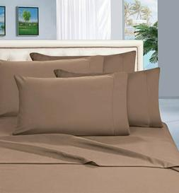 Luxurious Bedding Set USA Size Taupe Solid 100% Cotton 800-T