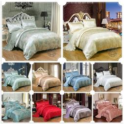 Luxury Jacquard Satin Bedding Sets With Duvet Cover + Flat S