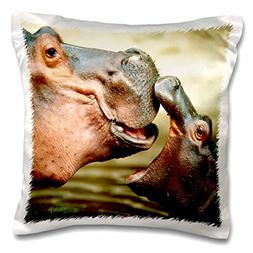 3dRose Mama Hippo Kisses Her Baby-Pillow Case, 16 by 16""