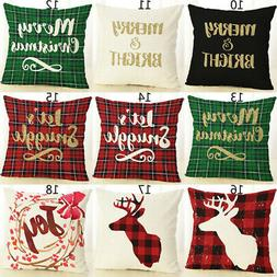 Merry Christmas Pillow Case Bed Waist Cushion Cover Xmas Caf