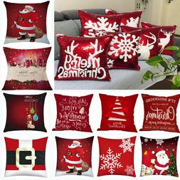 Merry Christmas Print Pillow Case Polyester Sofa Car Cushion