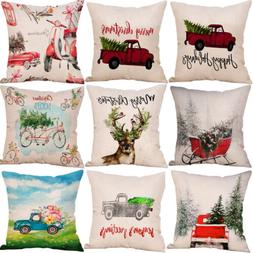 Merry Christmas Xmas Gift Plaid Throw Pillow Case Cover Cush
