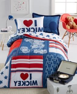 Disney's Mickey Americana Twin 5 Piece Comforter Set Bedding