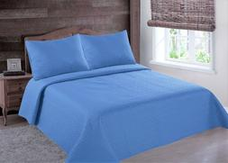 MIDWEST LIGHT BLUE NENA SOLID QUILT BEDDING BEDSPREAD COVERL