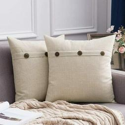 MIULEE Set of 2 Linen Throw Pillow Covers Cushion Case Tripl